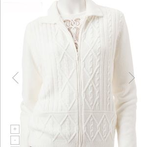 NWT Alfred Dunner Petite Chenille Knit Cardigan